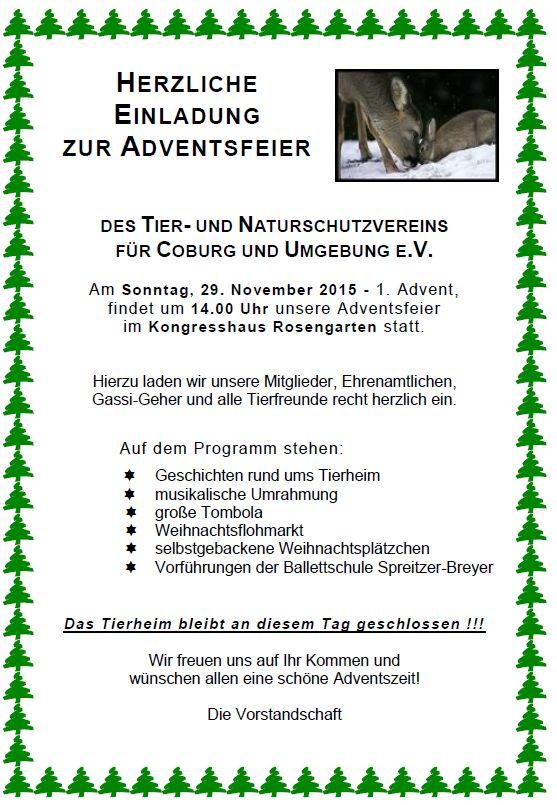 Adventsfeier am 29.11.2015, um 14 Uhr - Tierheim-Coburg.de